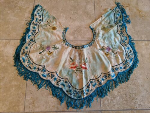 Antique China Qing Dynasty Collar Decor for Women, Pure Handmade Embroidery