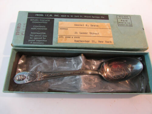 Rare 1962 JFK Kennedy NASA Souvenir Spoon W/ Box Silver-plate Friendship 7 Glenn
