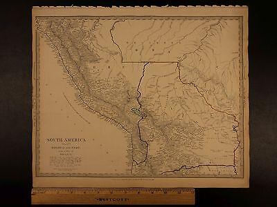 1844 BEAUTIFUL Huge Color MAP of South America PERU and Bolivia Brazil ATLAS