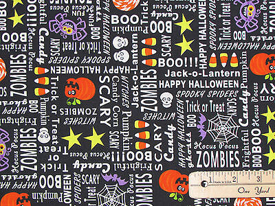 Frightful & Delightful Halloween Words Fabric by the 1/2 Yd #9899G GLOWS in - The Words Halloween