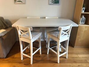 White IKEA table and chairs (free cushions)