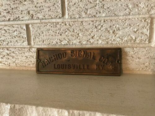 Vintage Antique NAchod Signal Co. Louisville KY Brass Plate