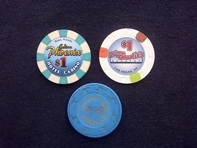 "LOT OF 3 -- $1 CASINO CHIPS -- LAS VEGAS / NEVADA -- ""COLLECTIBLE"""