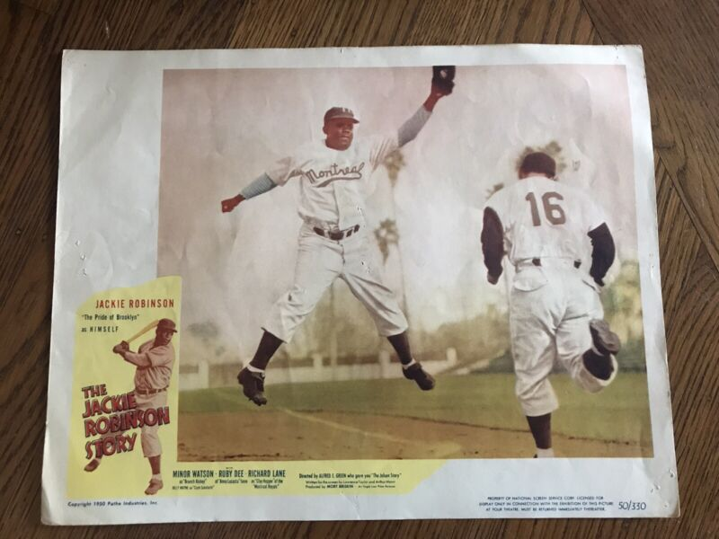 1950s Brooklyn Dodgers Jackie Robinson Story Movie Lobby Card