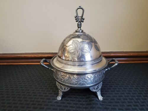 Antique Roger Bros Silver-plate Covered Footed Butter Dome Dish Birds & Berries