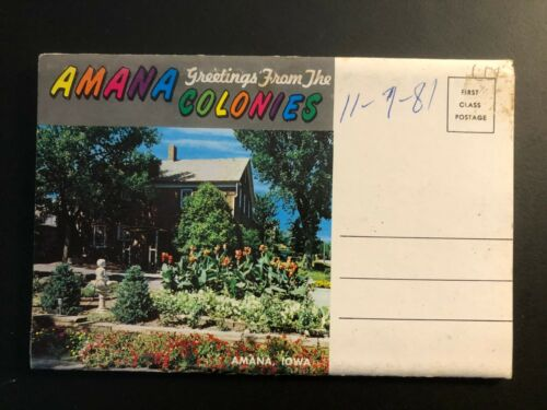 """Old Vintage """"AMANA COLONIES-IOWA""""  Fold Out Views. Posted 1981 Made in USA"""