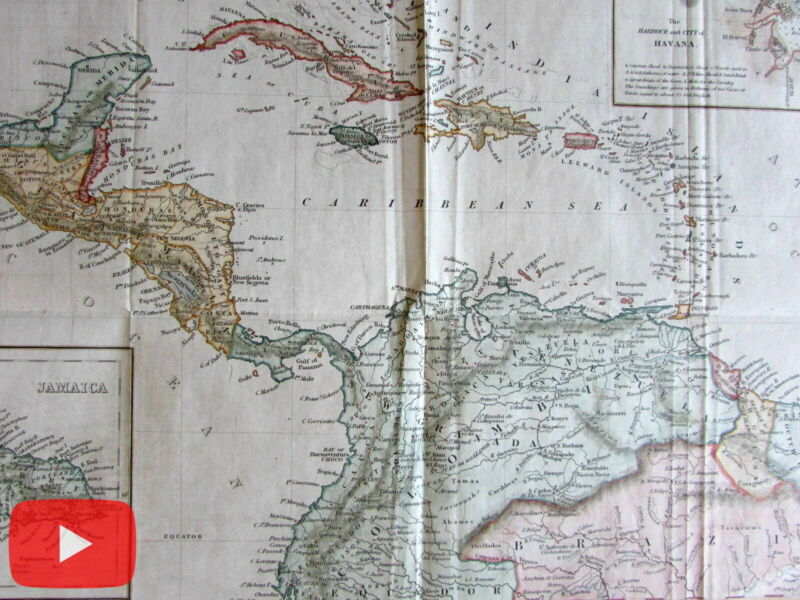 West Indies Caribbean Central America 1848 Copley Harpers old map color