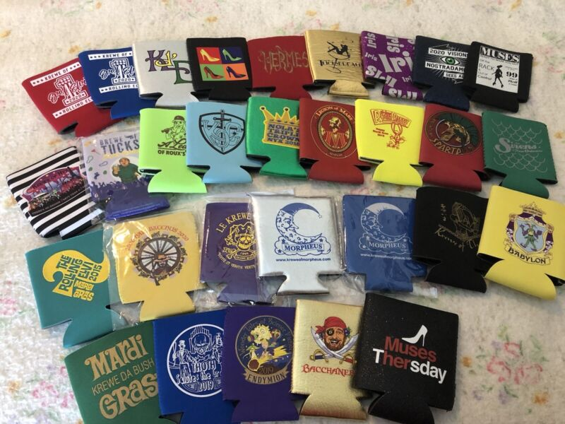 Lot of 30 Different - Mardi Gras Koozies  / Various Krewes & Years - Never Used