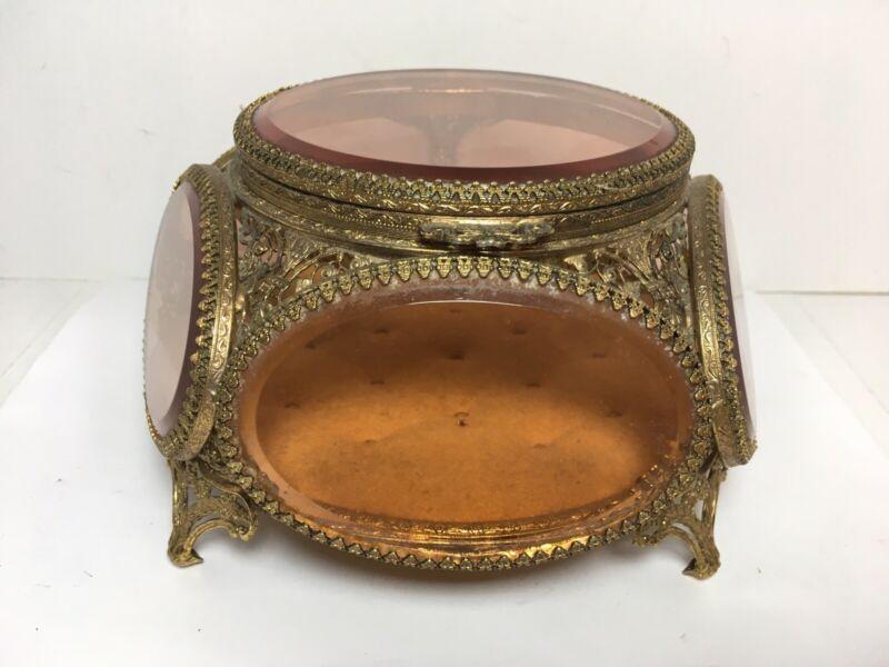 Vintage Beveled AMBER Glass GILT Ormolu Filgiree Jewelry Casket Matson ?