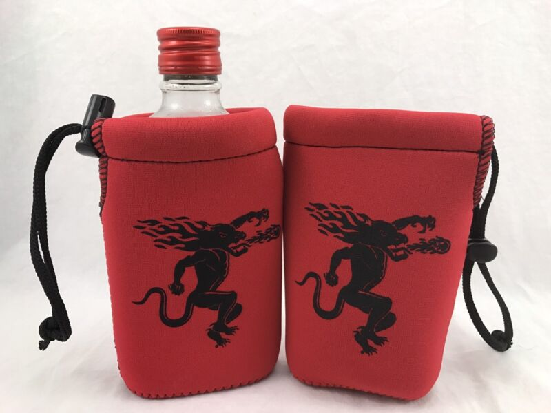 2 Fireball Whisky Red  Koozies 1 Pint Bottle Cooler Coozie - NEW & Free Shipping