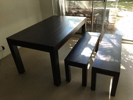 Solid Wood Table and Bench Chairs