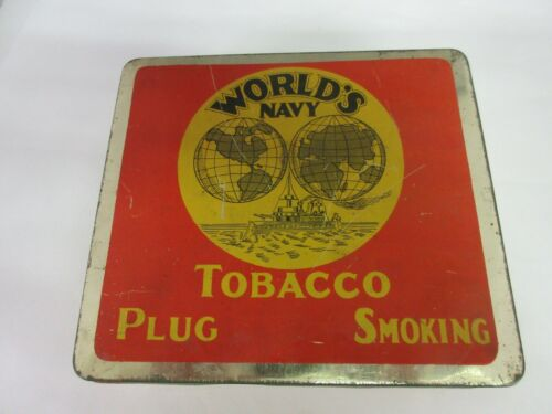VINTAGE ADVERTISING WORLDS NAVY  CANISTER TIN EXCELLENT COLLECTIBLE  398-H