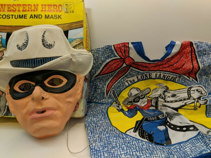 VINTAGE WESTERN HERO MASK AND COSTUME LONE RANGER TV BEN COOPER WITH BOX