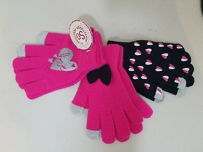 SO Girls 3-Pair Touchscreen Gloves M/L 7-16 Pink Black Hearts