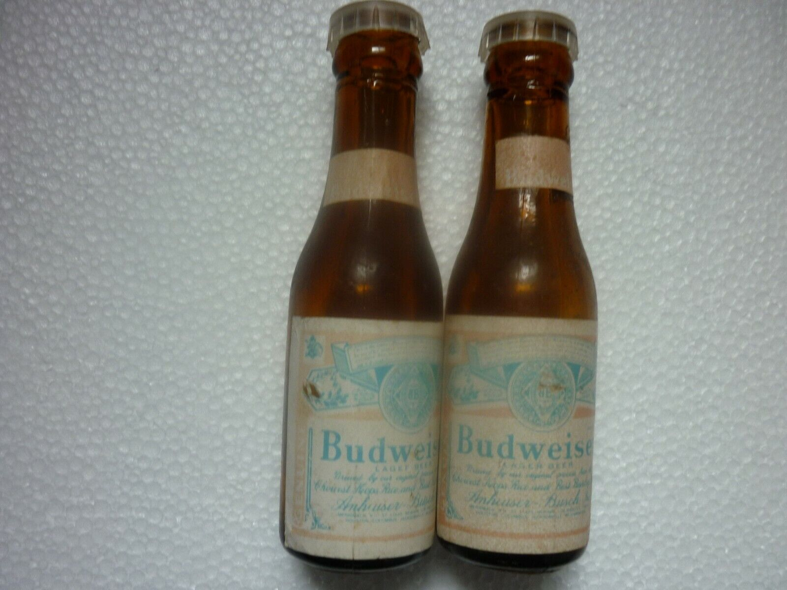 Vintage Glass Budweiser Salt And Pepper Shakers Plastic Tops Circa 1950sFade