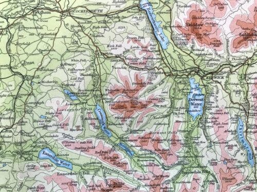 Antique Color Map LAKE DISTRICT, ENGLAND : Authentic Muirhead 100% Original 1930
