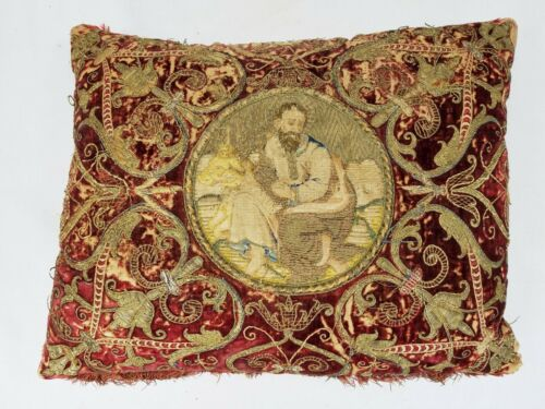Antique 17th 18th c. Venetian Fortuny Red Velvet Gold Thread Pillow Saint Luke
