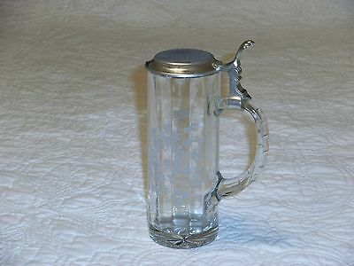 German Glass Stein BMF N Markings Frosted (Glass Frosted Stein)