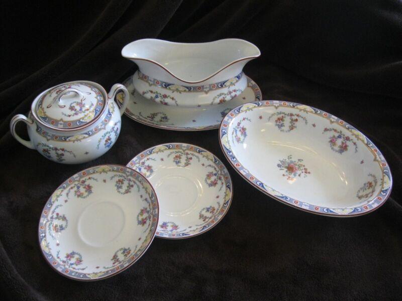 J & G MEAKIN Pattern KEW ~ Gorgeous Antique English China ~ 6 piece lot