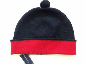 New-Ralph-Lauren-Polo-Merino-Wool-Black-Red-Beanie-Hat-One-Size