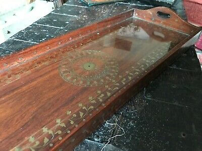 Vintage hardwood tray inlaid with glass liner