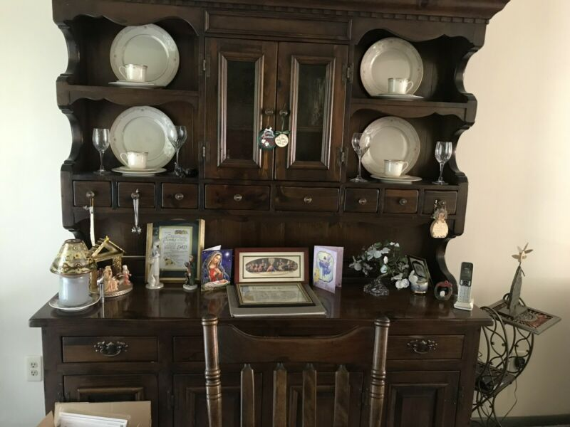 Antique Bennington Pine China Cabinet