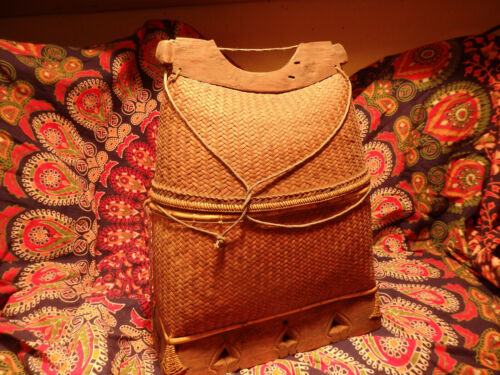 Vintage antique Fishing Creel Japanese basket woven reed