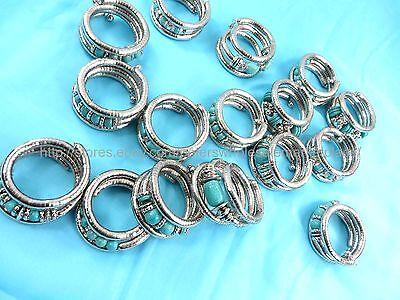 US SELLER- 10pcs turquoise stretch wrap bracelets jewelry pieces in bulk - Rings In Bulk