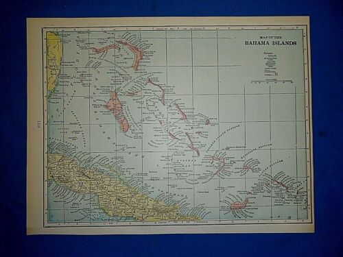 Vintage 1900 Atlas Map ~ THE BAHAMA ISLANDS Old Original & Authentic ~ Free S&H
