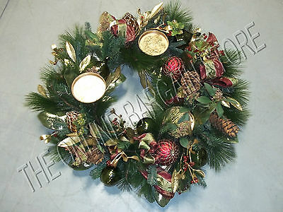 Frontgate Christmas Holiday Centerpiece Table Wreath Pinecones Red Green (Christmas Wreaths Centerpieces)