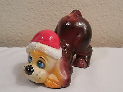 "Vintage Hard Plastic Begging Brown Dog Figurine Wearing Santa Hat ~ 4"" Long"