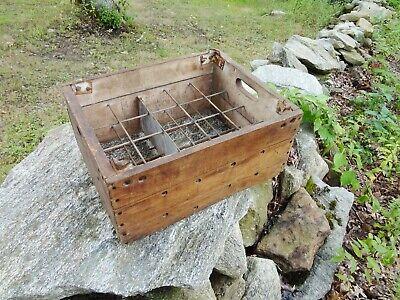 Vintage 1930's 20 Pint Glass Milk Bottle Wood Wooden Milk Crate Rutland Vermont