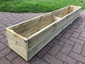 Ordinaire 6ft JUMBO EXTRA LARGE Long Wooden Planter Trough Decking Garden Flower  Plant Tub