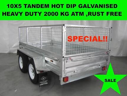 10X5 HOT DIP GALVANISED TRAILERS 2000KG GVM  ON SALE NOW