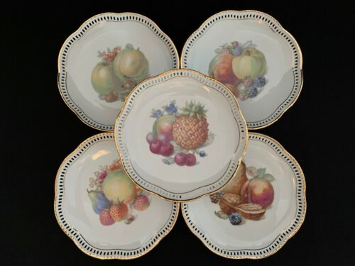 "Five (5) SCHUMANN China FRUIT & NUT pattern RETICULATED rim 7"" PLATES"