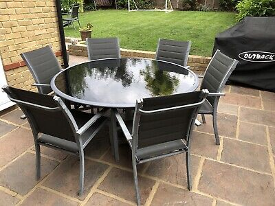 Lovely 7 Piece Metal Garden Patio Furniture Set - Grey