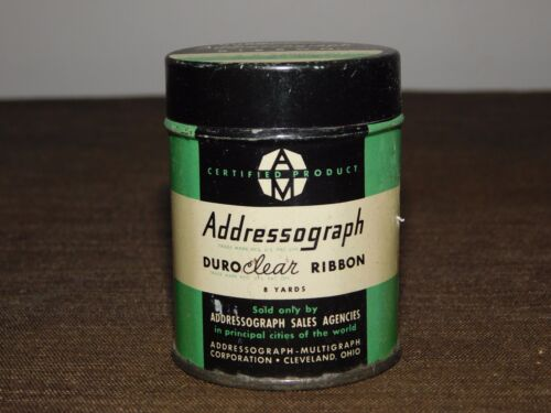VINTAGE TYPEWRITER  DURO CLEAR ADDRESSOGRAPH RIBBON TIN CAN  *EMPTY*