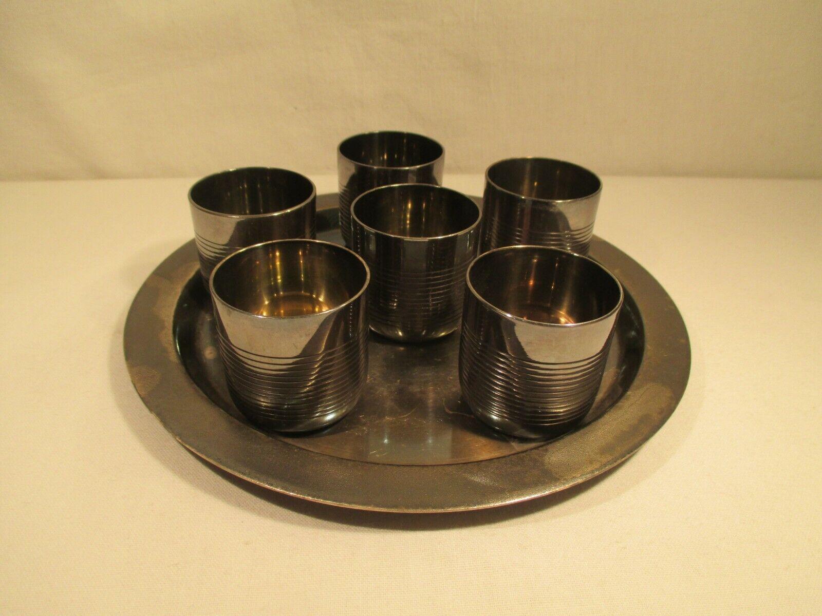 Bicchieri da Shot Bicchieri Liquore Bicchierino Set IN Metallo Art. Deco Vecchio