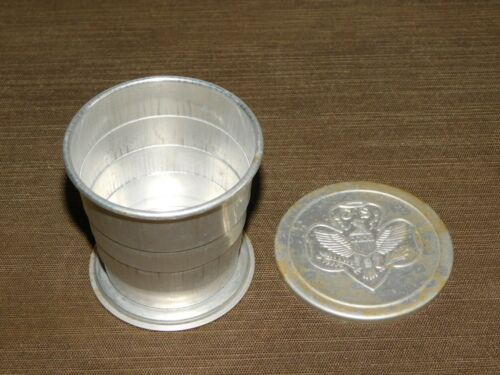 VINTAGE GIRL SCOUTS ALUMINUM METAL COLLAPSIBLE TRAVEL CAMPING CUP