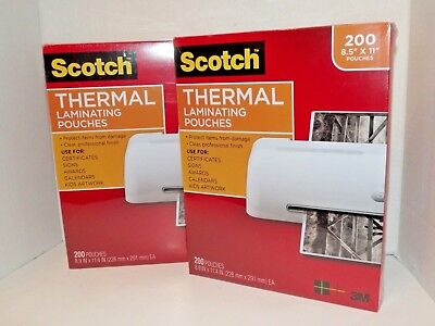 2 Packs Scotch 3m Thermal Laminating Pouches 200 Count Each 8 X 11 New V