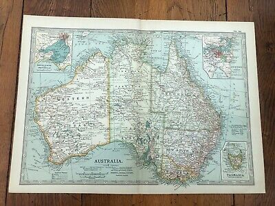 1903 large colour fold out map titled - australia  !