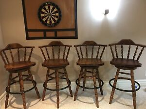 4 Solid wood swivel bar chairs/stools