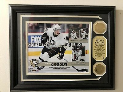 """Sidney Crosby Framed Photos 2005 First NHL Game 9""""X 8"""" Pittsburgh Penguins HMint ()"""