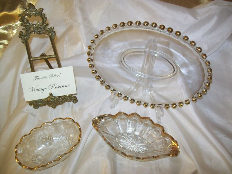 Depression Glass Set of 3 Oval Plate Oval Dish/Bowl Oval Footed Soap Dish & Gold