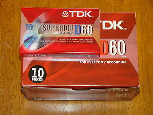 LOT OF 10 TAPES - NEW FACTORY SEALED TDK SUPERIOR (60M) AUDIO CASSETTE BLANK