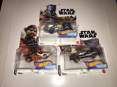 Star Wars Hot Wheels Character Cars Lot Heavy Infantry Mandalorian, Nien Nunb