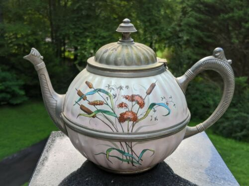 Antique Enamel & Pewter Graniteware Teapot w/Cattails & Hinged Lid - Unbranded