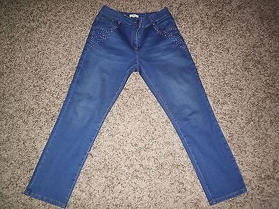 JACQUELINE RIU DISTRESSED STRETCH CLASSIC FIT JEANS JEWEL DETAIL for sale  Shipping to South Africa