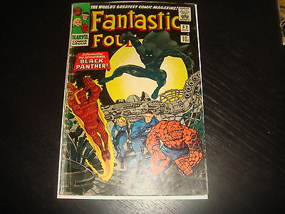 FANTASTIC FOUR #52 Silver Age 1st Black Panther  Marvel Comics 1966 GD