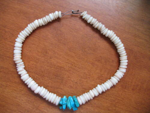 Turquoise & Puka Shell Nugget Necklace